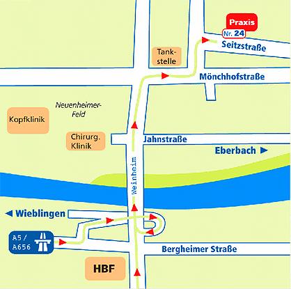 Sie finden Sie zu unserer Praxis in Heidelberg,